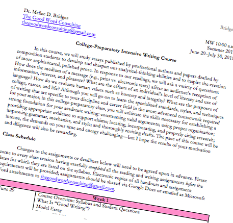 advanced essay writing syllabus Course outline for advanced writing curriculum:  students will select and  apply appropriate writing strategies to complete academic paragraphs and  essays.